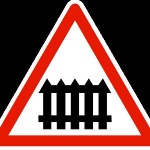 panneau danger passage a niveau muni de barrières a fonctionnement manuel a7